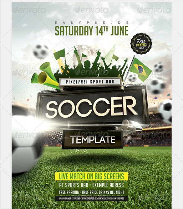 attractive soccer flyer template