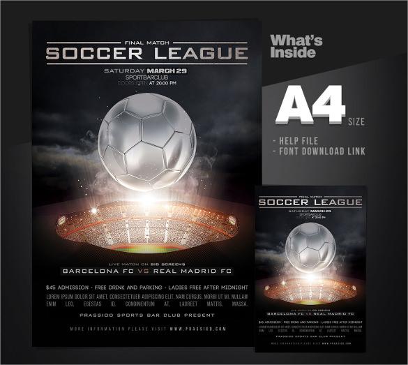 good soccer league flyer template