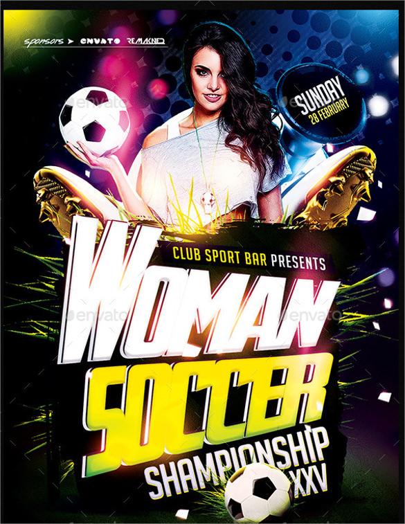 women soccer flyer template psd download