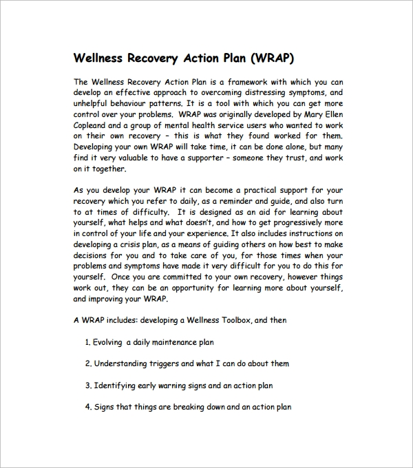 All worksheets wellness worksheets pdf printable for Recovery action plan template