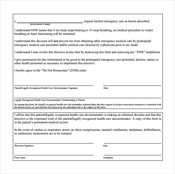 Sample Dnr Medical Form   Download Free Documents In Pdf Word