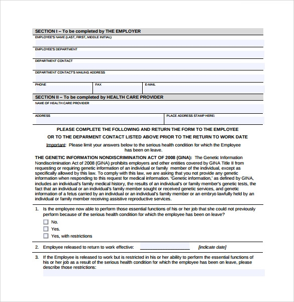 Sample Return To Work Medical Form   Download Free Documents In