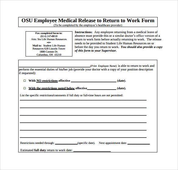 Sample Return To Work Medical Form   Download Free Documents