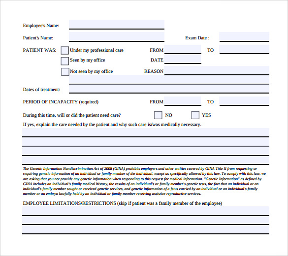 Sample Medical Leave Form   Download Free Documents In Pdf Word