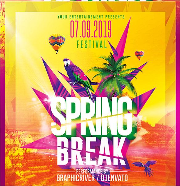 spring break party psd flyer template