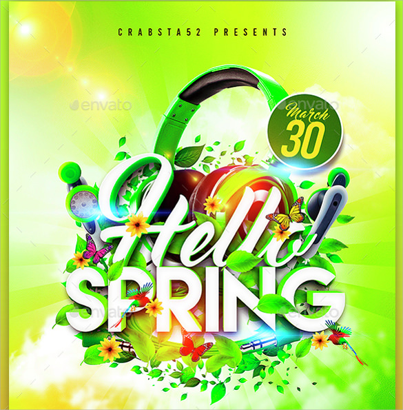 hello spring flyer vector eps template free download