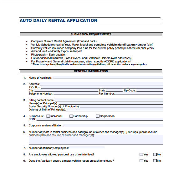 Sample Auto Rental And Lease Form   Download Free Documents In Pdf