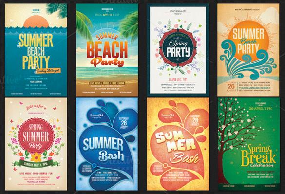 spring summer party flyer bundle