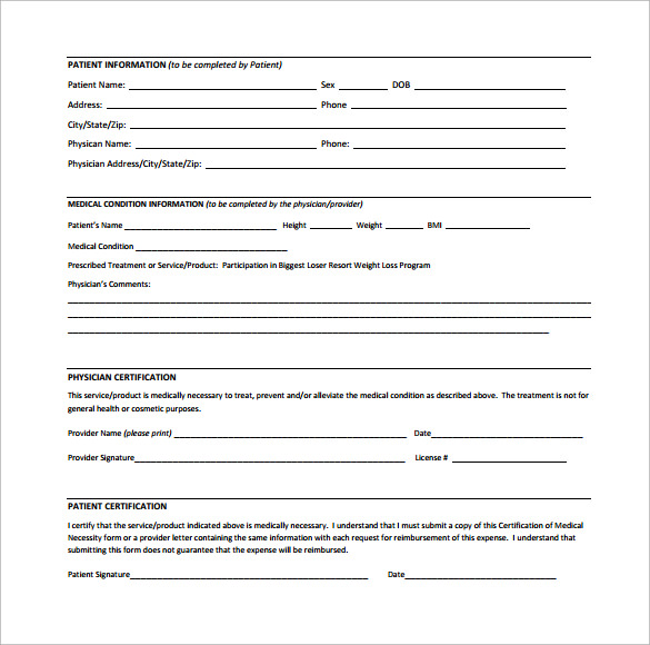 letter of medical necessity form for weightloss