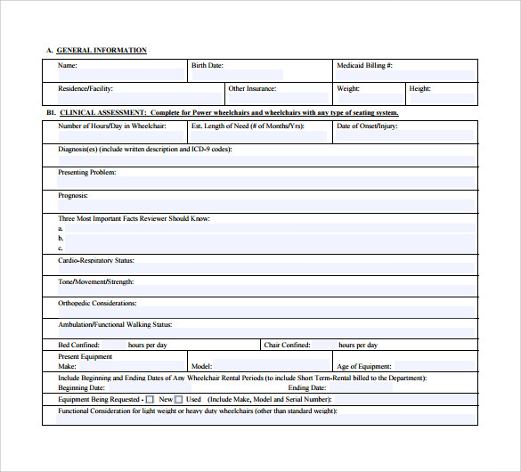 letter of medical necessity form for wheelchair
