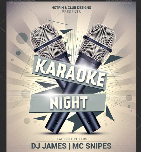 karaoke night flyer template psd format