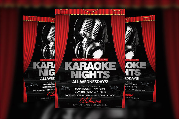 wondrous karaoke night flyer template download