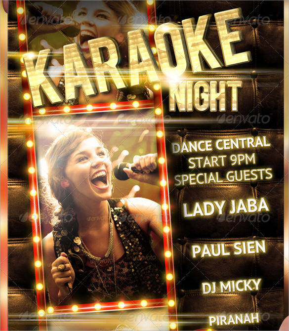 karaoke night party flyer template free download