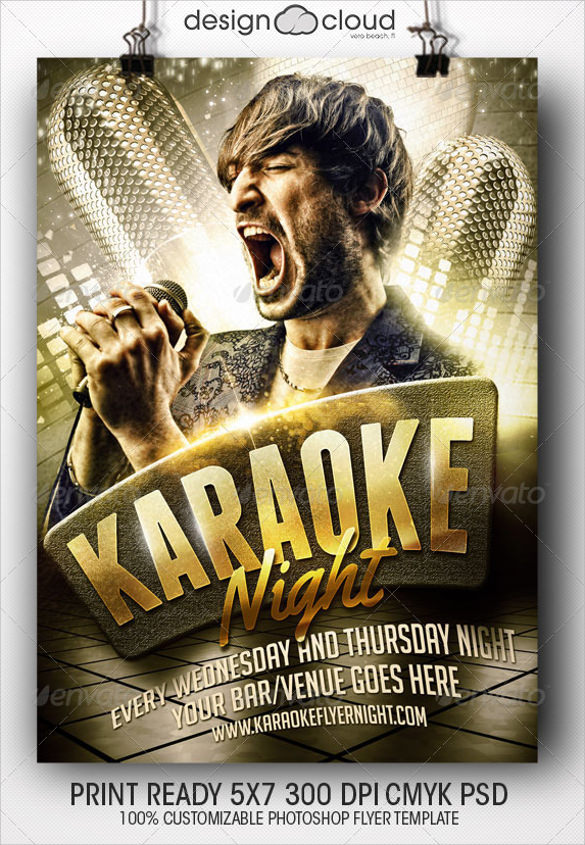 Amazing Attractive Karaoke Night Flyer Template