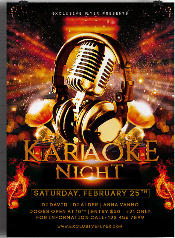 dazzling karaoke night premium flyer template