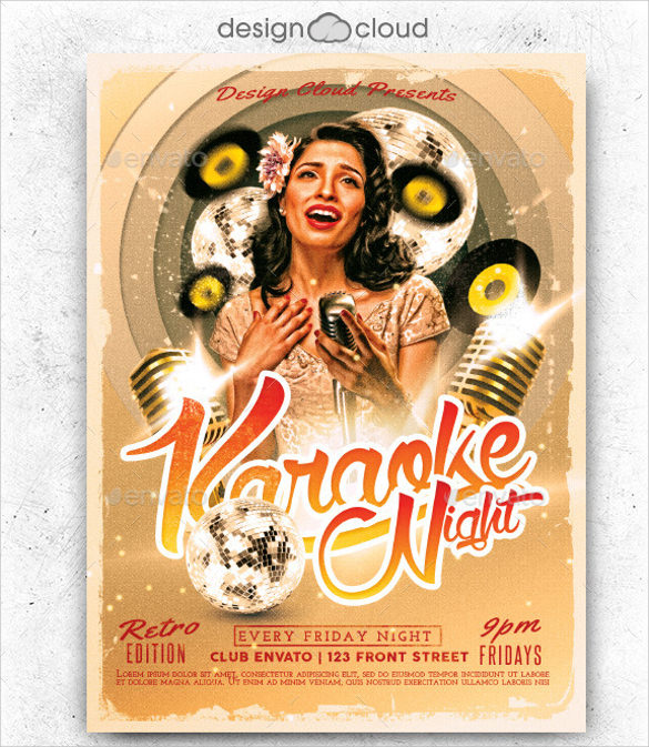 awesome karaoke night flyer template