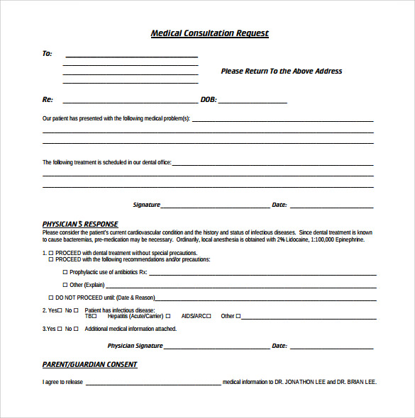 Medical Consultation Request Form  Free Medical Form Templates