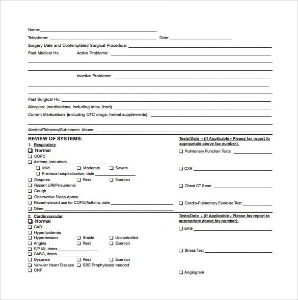pre surgery medical consultation form