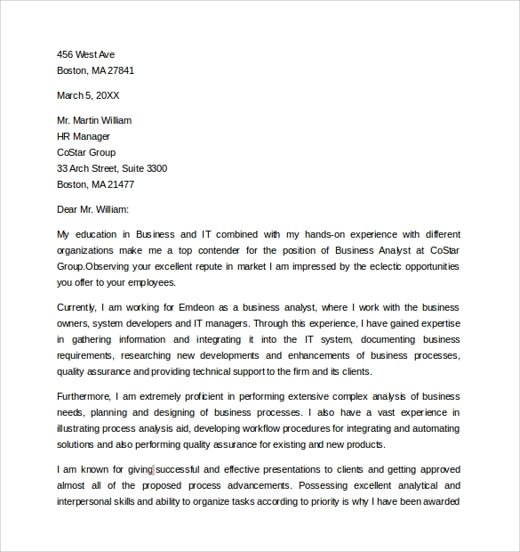 Business Analyst Cover Letter Samples The Best Resume For You Business Analyst  Cover Letter Samples The