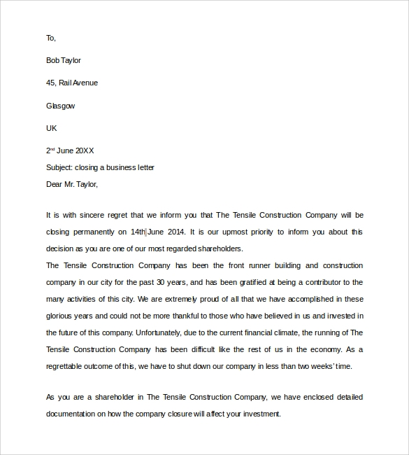 Sample Closing Business Letter 7 Documents in PDF Word – Letter to Shareholders Example