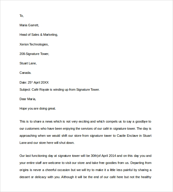 Sample Closing Business Letter