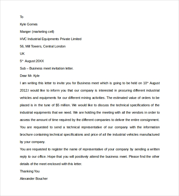 Sample business invitation letter 9 download free documents in business meet invitation letter stopboris