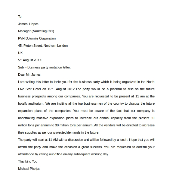 Sample Business Invitation Letter 9 Download Free