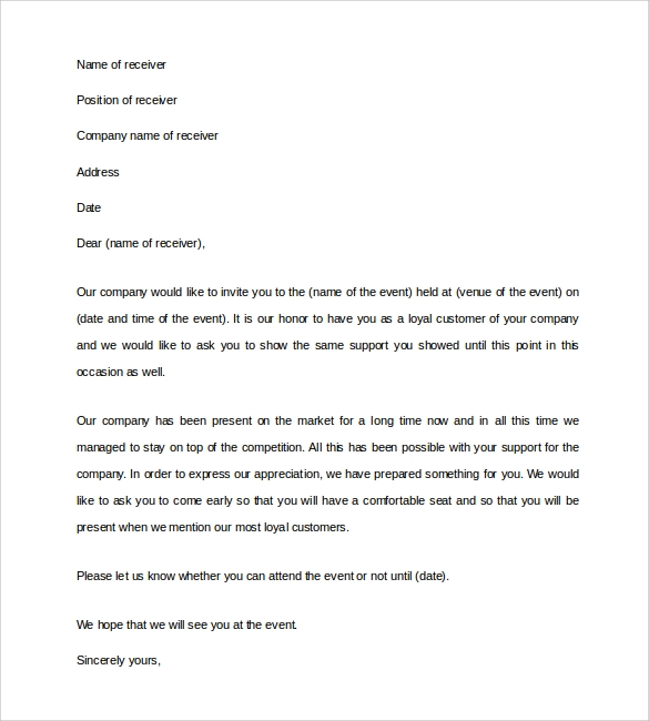 Sample Business Invitation Letter 9 Download Free Documents in – Format for Invitation