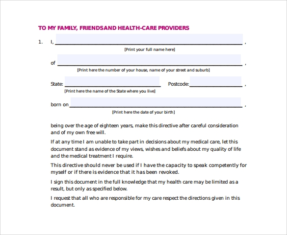 Sample Advance Medical Directive Form - 11+ Download Free