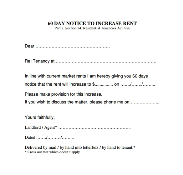 Rent increase letter templates how to write a rent increase notice maths equinetherapies co spiritdancerdesigns