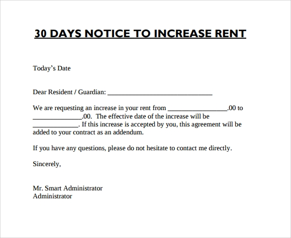 Sample Rent Increase Letter   Documents In Word Pdf