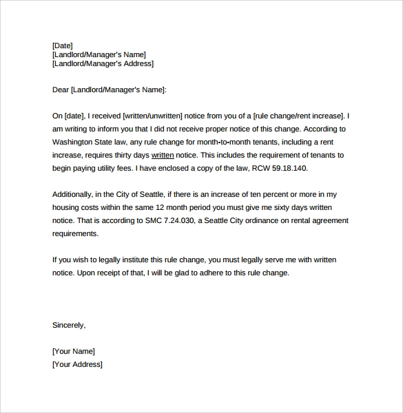 sample rent increase letter