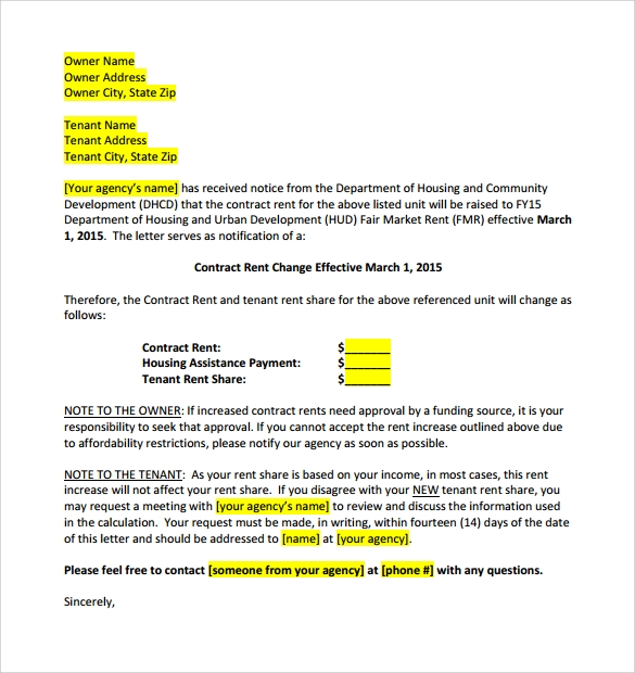 Increase Rent Letter Template - Gse.Bookbinder.Co