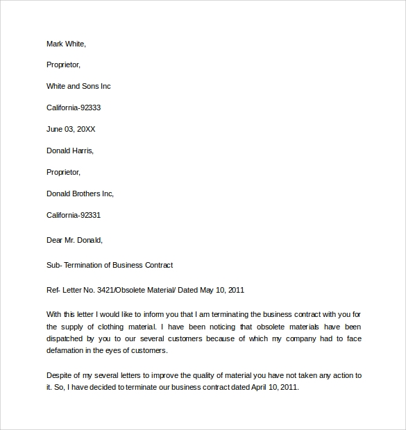 business termination letter template – Business Termination Letter Sample