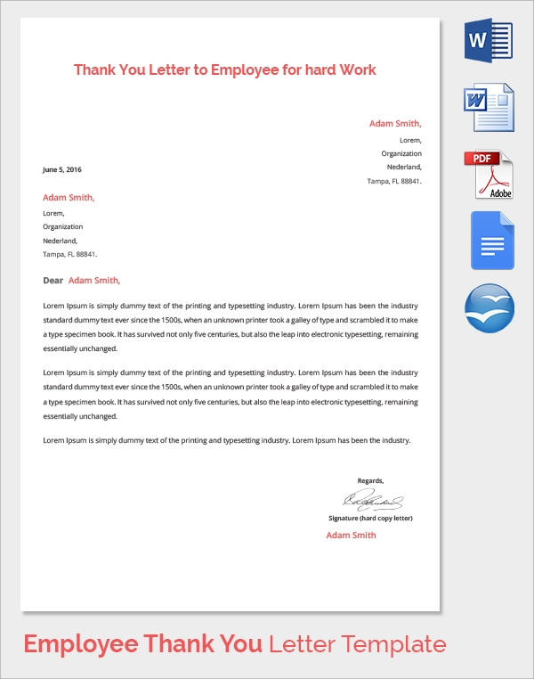 Sample thank you letter to employer 18 download free documents in 19 thank you letters to employer spiritdancerdesigns