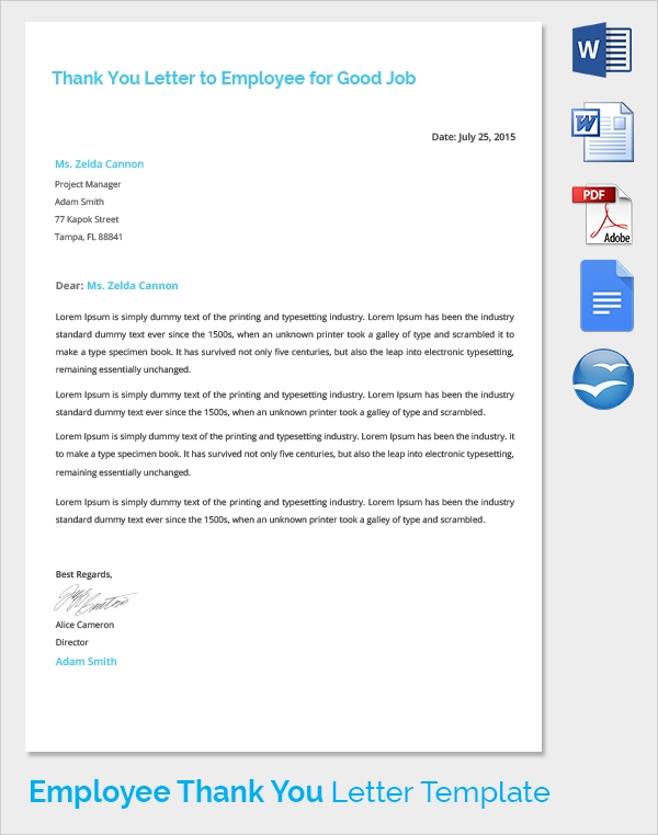 sample thank you letter to employer 18 download free documents in pdf word