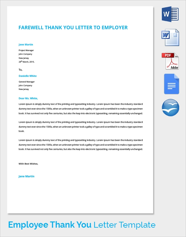 thank you letter to employer