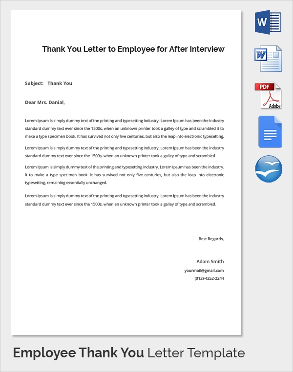 thank you note after interview sample