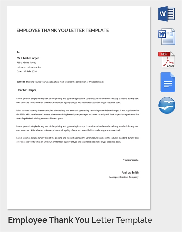 simple employee thank you letter template