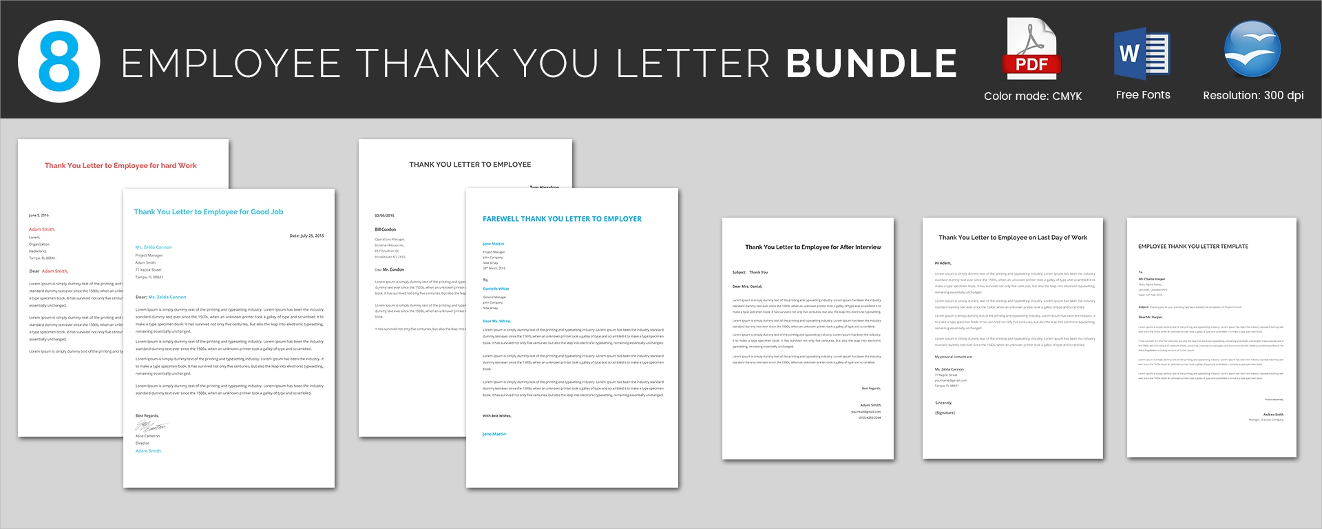 employee thank you letter bundle
