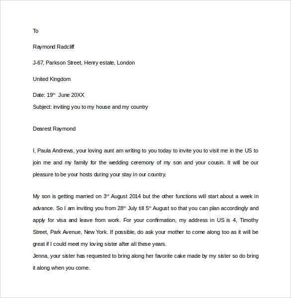 Sample Invitation Letter For Us Visa - 9+ Download Free Documents