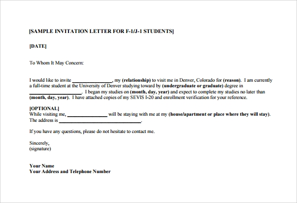 11 Invitation Letters For Us Visa Pdf Word