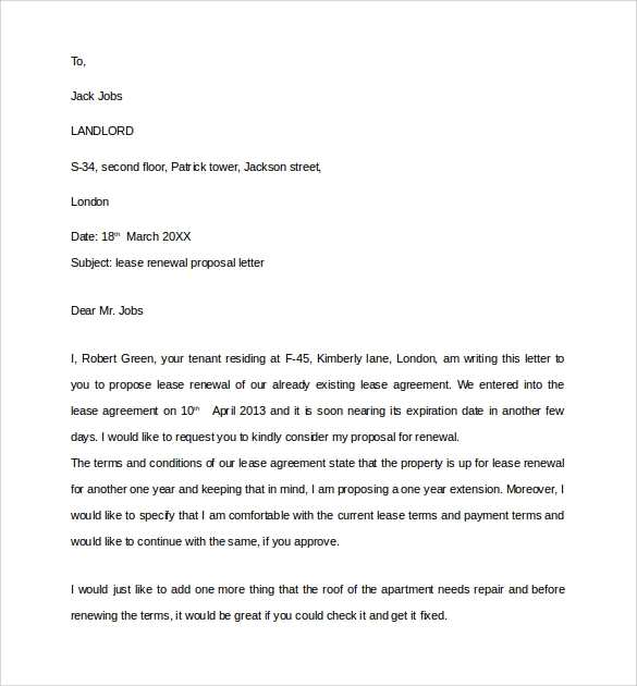 lease renewal proposal letter
