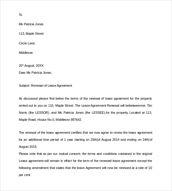 lease renewal agreement letter