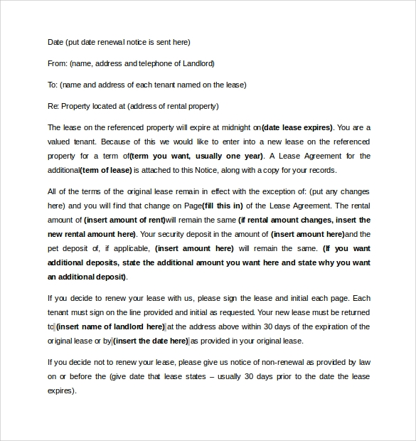 Sample Lease Renewal Letter To Landlord Letter Giftwatches Co