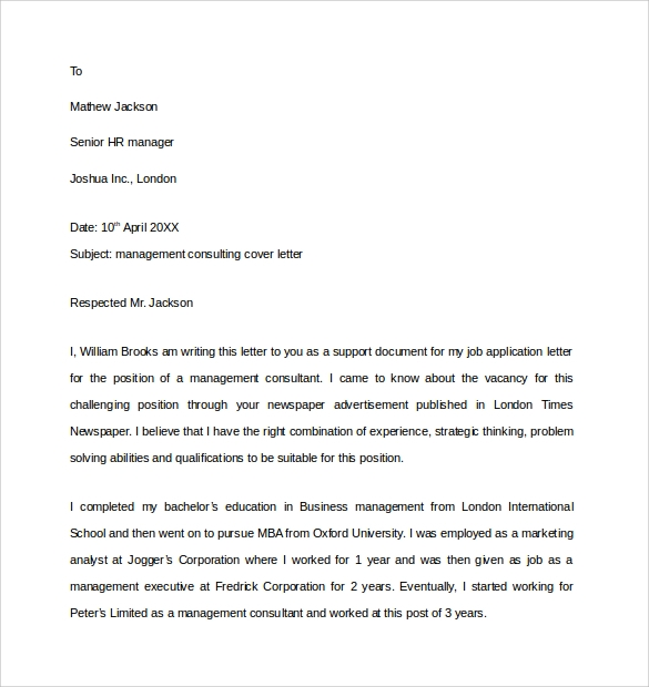 Management Consulting Cover Letter  Management Consulting Cover Letter