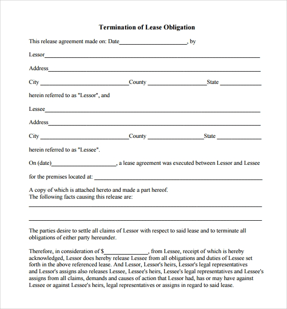 lease obligation termination form