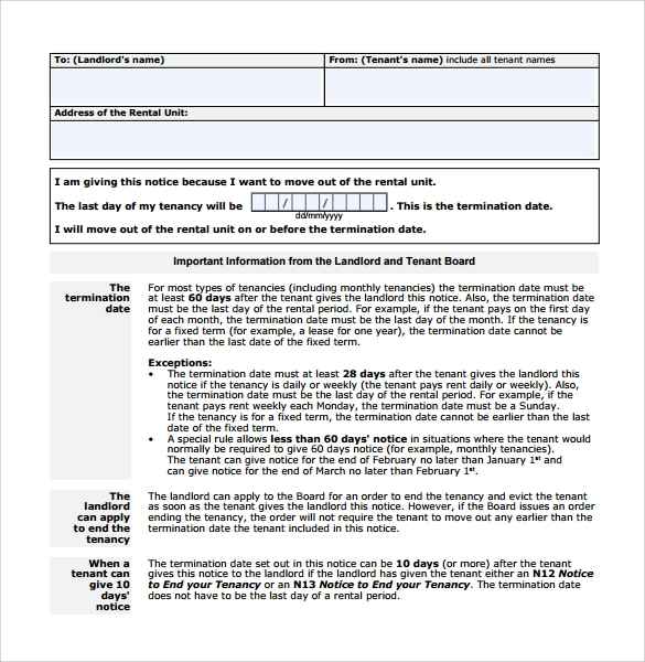 tenant lease termination form