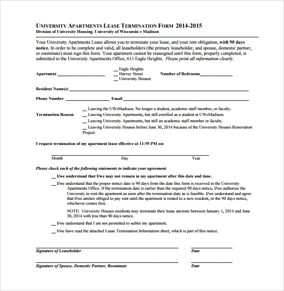 apartment lease termination form