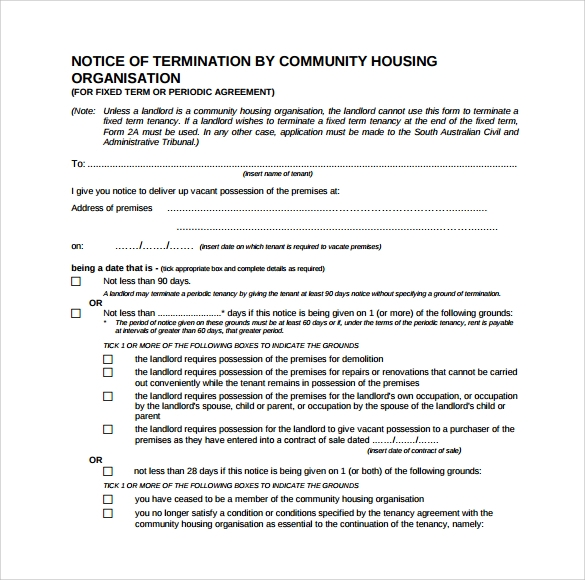 free download lease termination form